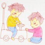 乗り物おもちゃ。双子ならこうなります。
