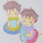 相方が転んで、急いで見に行く双子/子ども用のヘアピン